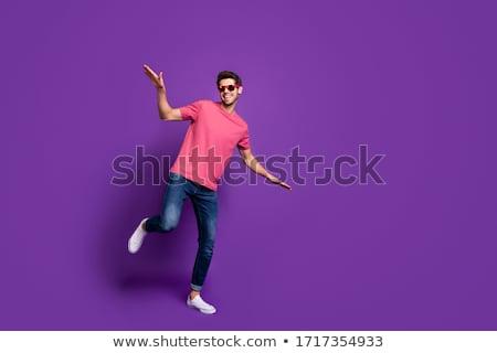 barbudo · feliz · homem · óculos · de · sol - foto stock © deandrobot