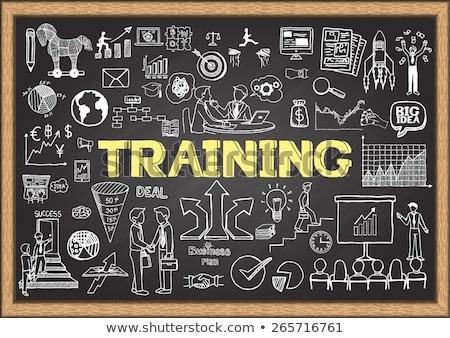 development plan concept doodle icons on chalkboard stock photo © tashatuvango
