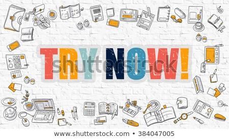 Teraz biały murem gryzmolić ikona około Zdjęcia stock © tashatuvango