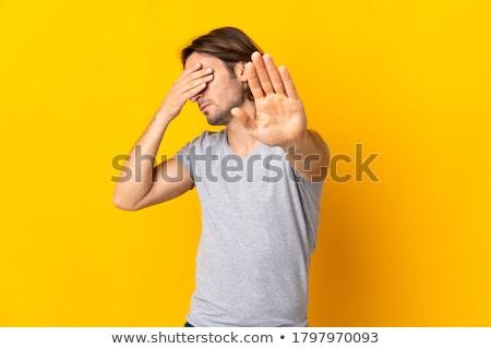 человека · лице · рук · выстрел · сидят · скалолазания - Сток-фото © LightFieldStudios