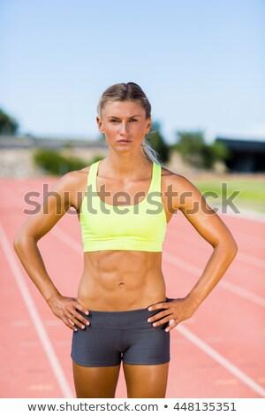 Ritratto femminile atleta abbigliamento sportivo nero donna Foto d'archivio © wavebreak_media