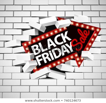 Black friday sprzedaży arrow ściany podpisania murem Zdjęcia stock © Krisdog