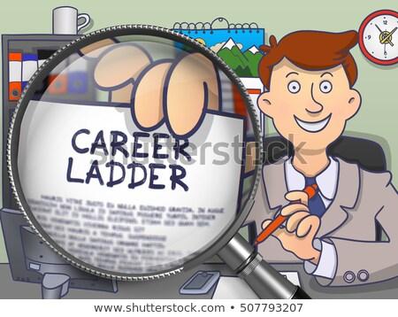 Career Ladder through Magnifying Glass. Doodle Concept. Stock photo © tashatuvango