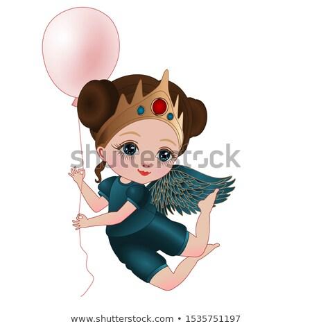 Menina anjo diversão glamour jogar Foto stock © IS2