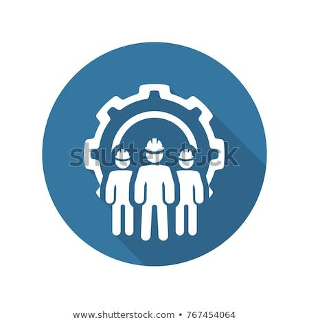 Engenharia equipe ícone três homens roda dentada Foto stock © WaD