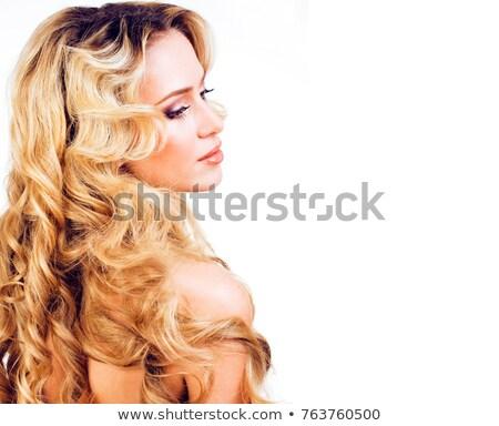 Beleza loiro mulher longo cabelos cacheados isolado Foto stock © iordani