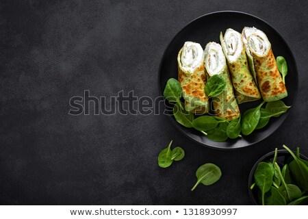 ほうれん草 チーズ 薄い パンケーキ 詰まった ランチ ストックフォト © Digifoodstock