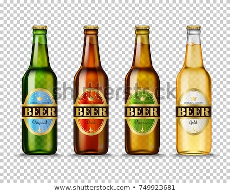 Stock photo: Vector Realistic beer bottle and glass