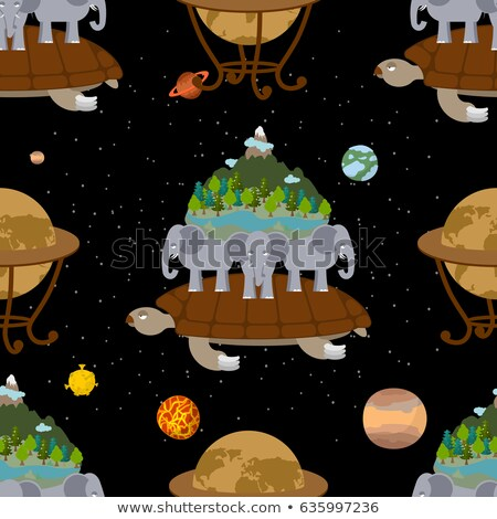 Mythological planet earth Seamless Pattern. Old Map background.  Stock photo © popaukropa