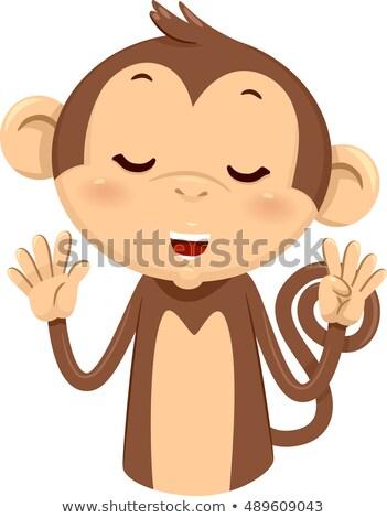 Mascotte scimmia nove illustrazione cute dita Foto d'archivio © lenm