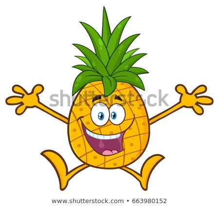 Heureux ananas fruits vert mascotte dessinée personnage Photo stock © hittoon