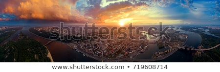 Panorama of the city of Kiev with the Dnieper river against the blue sky, Ukraine Stock photo © artjazz