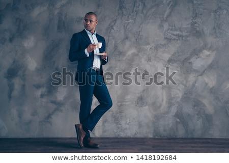 Homme d'affaires plein pensées isolé heureux yeux Photo stock © hsfelix