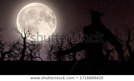 werewolf wolfman halloween silhouette stock photo © krisdog