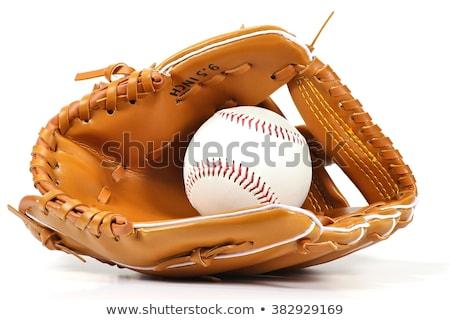 Honkbalhandschoen bal geïsoleerd witte hand ontwerp Stockfoto © hittoon