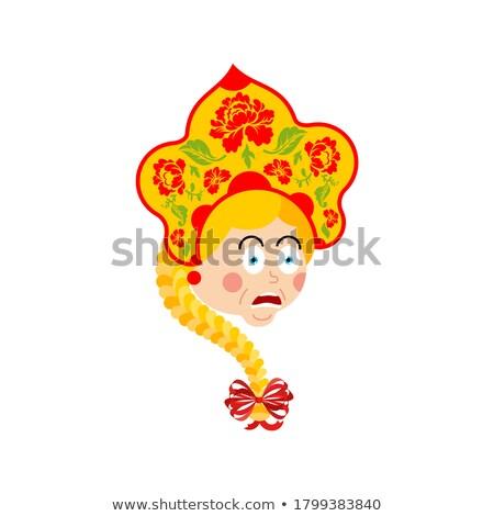 Russia scared OMG emotion. Russian Girl Oh my God emoji. Female  Stock photo © popaukropa