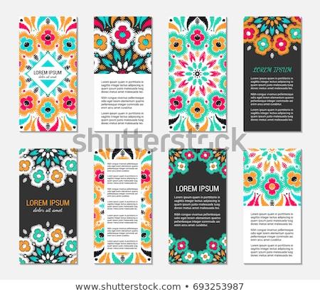 Colorido mandala diseno vertical tarjetas resumen Foto stock © SArts