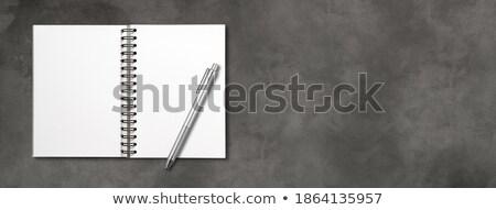 Stock foto: öffnen · Spirale · Notebook · Stift · isoliert · dunkelgrau