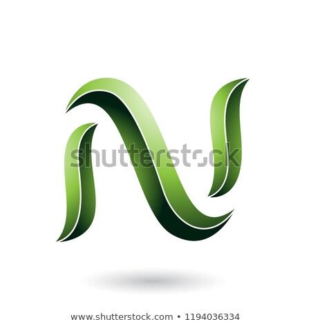 vert · rayé · serpent · lettre · vecteur - photo stock © cidepix