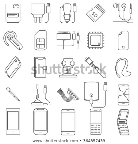 kellékek · ikonok · mobiltelefon · illusztráció · telefon · egér - stock fotó © olegtoka