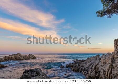 Gyönyörű kék óceán kép érdekes felhők Stock fotó © digoarpi