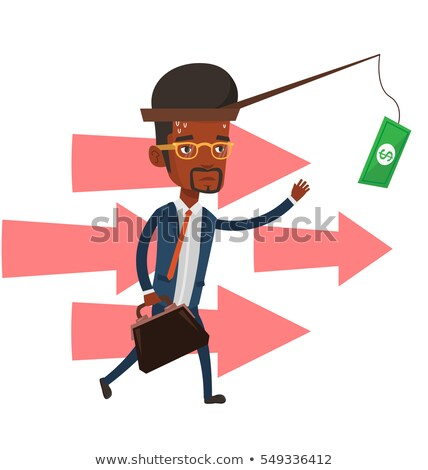 Businessman Catching Money Hanging On The Hook Of Fishing Rod Vector. Isolated Illustration Stock photo © pikepicture