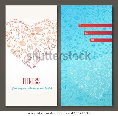 gym   modern line design style web banner stock photo © decorwithme