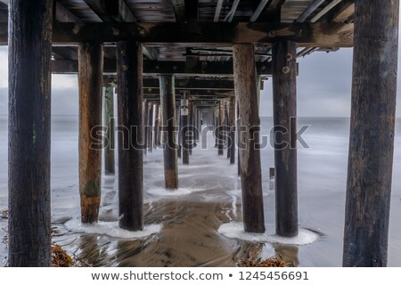 Zmierzch Święty mikołaj California USA chmury drewna Zdjęcia stock © yhelfman