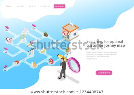 isometric flat vector landing page for serching for optimal customer journey stock photo © tarikvision