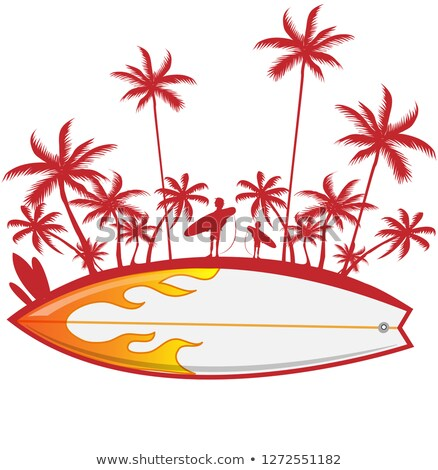 surfboard with palm tree isoalted on white vector illustration stock photo © doomko