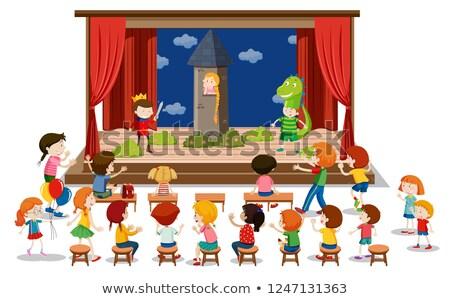Dzieci grać dramat etapie ilustracja student Zdjęcia stock © bluering