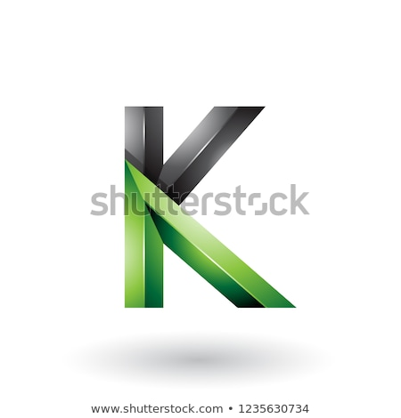 Black and Green 3d Bold Curvy Letter A Vector Illustration Stock photo © cidepix