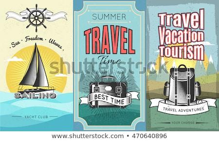 Temps Voyage autocollants bagages vecteur Photo stock © robuart