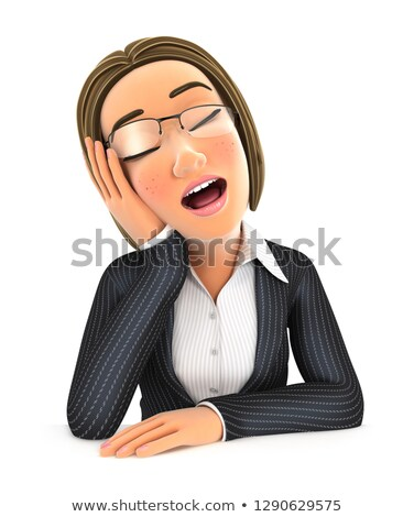 3d business woman fell asleep leaning on his hand Stock photo © 3dmask