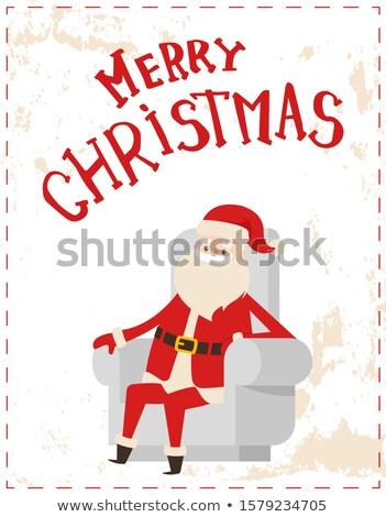 рождество отец мороз наклейку Гранж Сток-фото © robuart