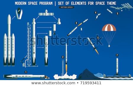rajz · rakéta · űrhajós · jelenet · illusztráció · retro - stock fotó © rastudio