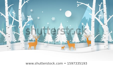 Deer Animal Silhouette, Papercut Horned Reindeer Stock photo © robuart