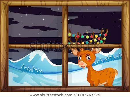 Rénszarvas ablak illusztráció fa boldog hó Stock fotó © colematt