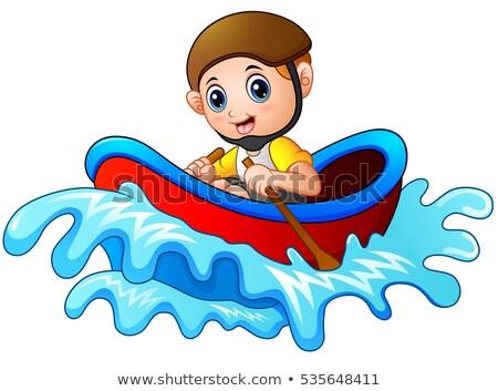 Gelukkig kinderen roeien boot illustratie meisje Stockfoto © colematt