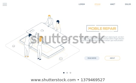 mobile repair service   modern colorful isometric vector web banner stock photo © decorwithme