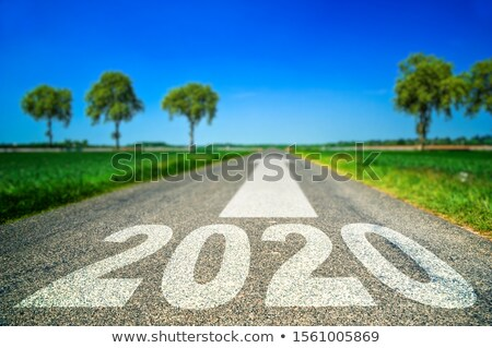 road marking in form of 2019 year and arrow Stock photo © dolgachov