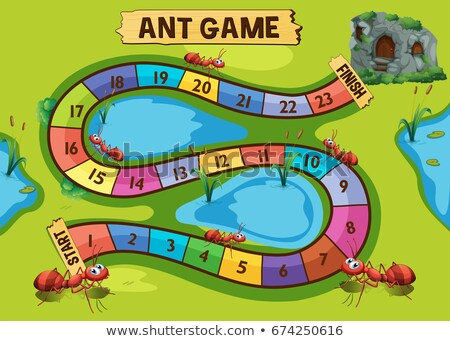 game template with ant colony in background stock photo © colematt