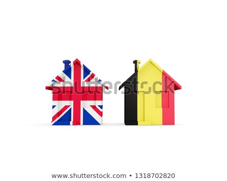Two houses with flags of United Kingdom and belgium Stock photo © MikhailMishchenko