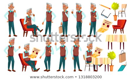 Arab, Muslim Old Man Poses Set Vector. Elderly People. Senior Person. Aged. Funny Pensioner. Leisure Stock photo © pikepicture