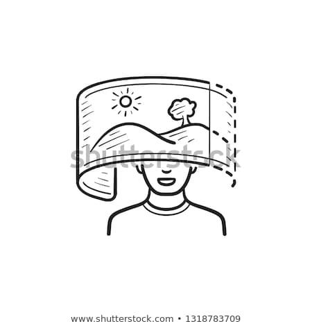 человек · виртуальный · реальность · рисованной · болван - Сток-фото © rastudio