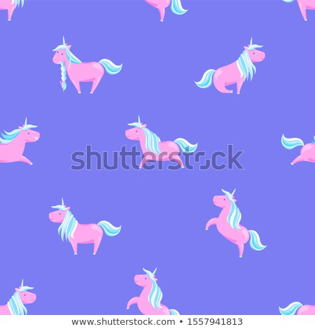 Girlish Pink Seamless Unicorns Mane, Sharp Horns Stock photo © robuart