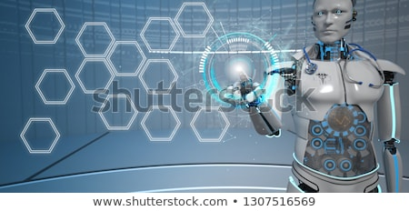 Humanoid Robot Medical Assistant Click HuD hexagons Stock photo © limbi007