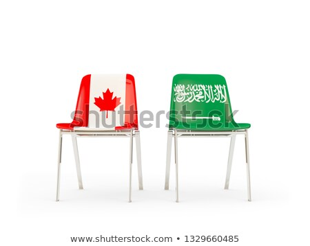 two chairs with flags of canada and saudi arabia stock photo © mikhailmishchenko