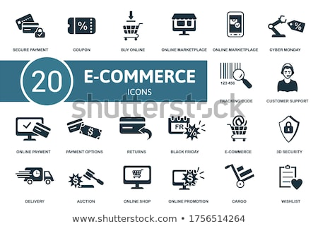 Online árverés biztonság vásárol ikonok hitelkártya Stock fotó © robuart