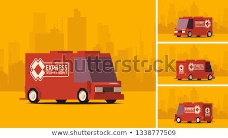 Arancione camion di consegna città panorama vista laterale consegna Foto d'archivio © tashatuvango